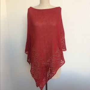 BCBG Max Azria Red Cherry Knit Poncho